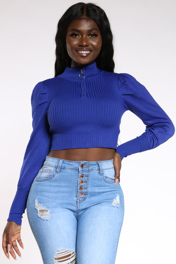 Women's Puff Sleeve Front Zip Sweater - Royal-VIM.COM