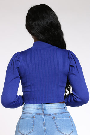 Women's Puff Sleeve Front Zip Sweater - Royal