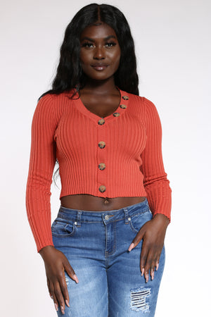 Women's Ribbed Cardigan Sweater - Rust-VIM.COM