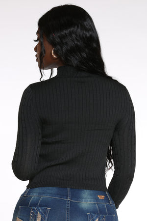 Can't Cross Me Ribbed Sweater - Black