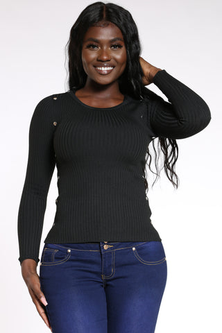 Women's Ribbed Side Studs Sweater - Black-VIM.COM