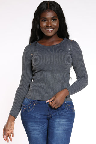 Women's Ribbed Side Studs Sweater - Charcoal-VIM.COM