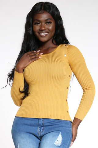 Women's Ribbed Side Studs Sweater - Mustard-VIM.COM