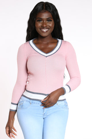 Women's V Neck Stripe Trim Sweater - Pink-VIM.COM