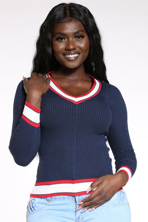 Women's V Neck Stripe Trim Sweater - Navy-VIM.COM