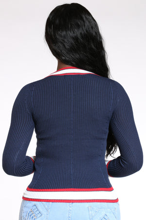 Teach You A Little Somethin' V Neck Stripe Trim Sweater - Navy