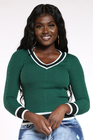 Women's V Neck Stripe Trim Sweater - Green-VIM.COM