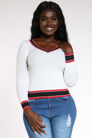 Women's V Neck Stripe Trim Sweater - White-VIM.COM