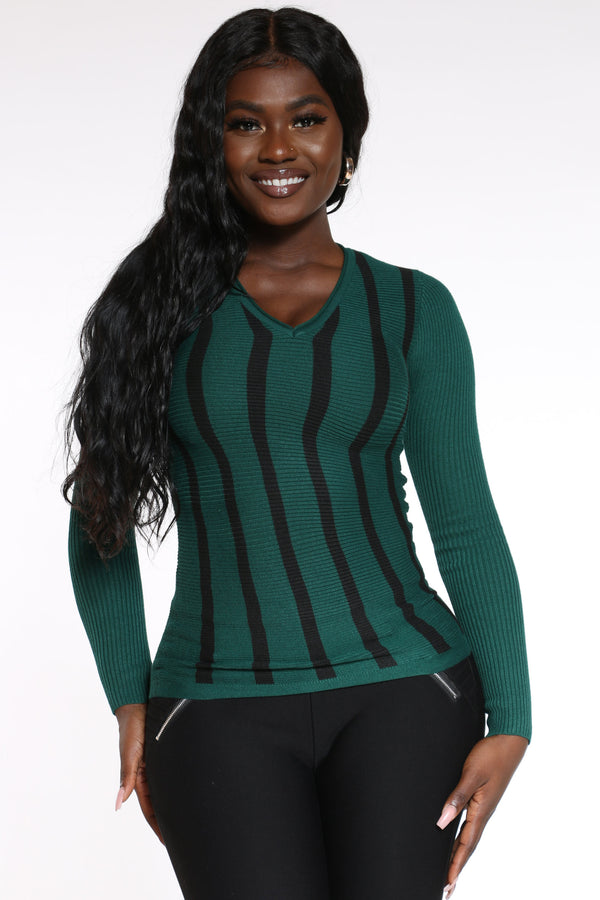 Women's Vertical Stripe Sweater - Green-VIM.COM