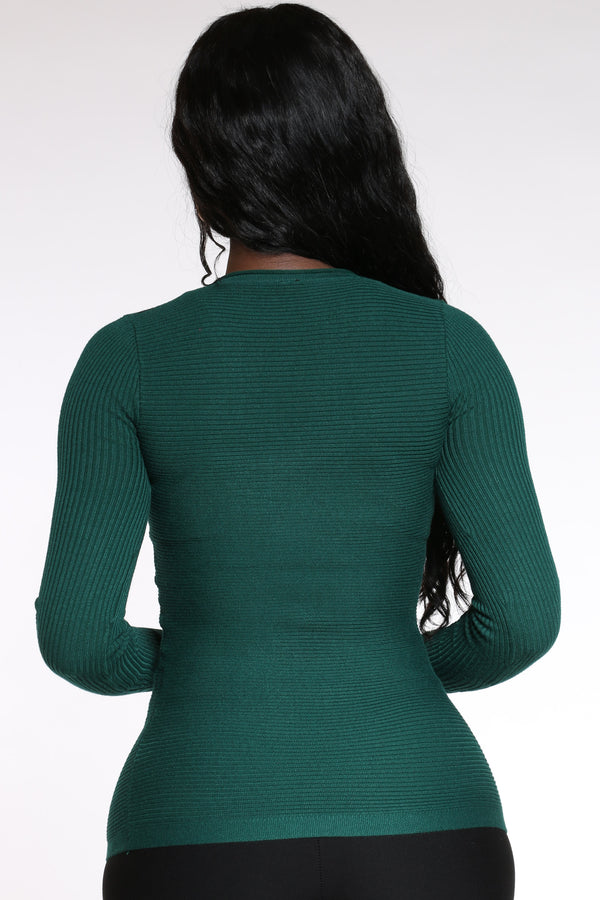 Women's Vertical Stripe Sweater - Green