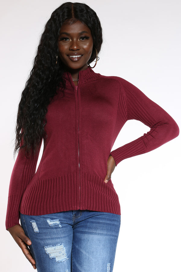 Women's Full Zip Ribbed Sweater - Burgundy-VIM.COM