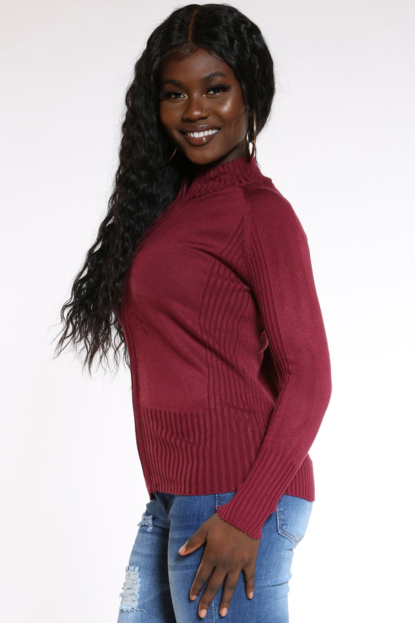 Women's I'll Be Right There Full Zip Ribbed Sweater - Burgundy