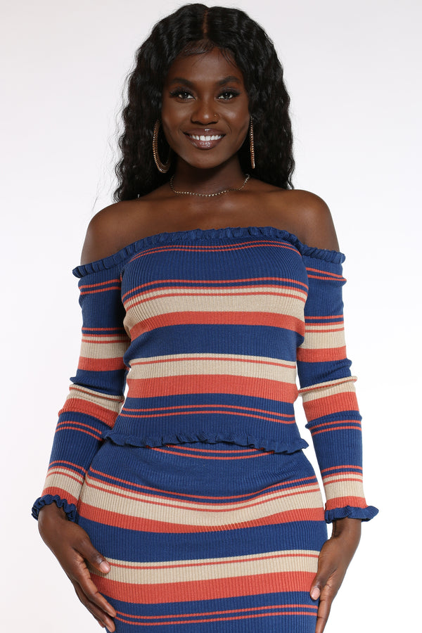 Women's Striped Ribbed Sweater - Pink Khaki-VIM.COM