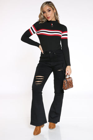 Women's Striped Chest Sweater - Black
