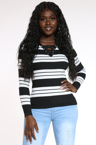 Women's Striped Lace Up Sweater - Black-VIM.COM