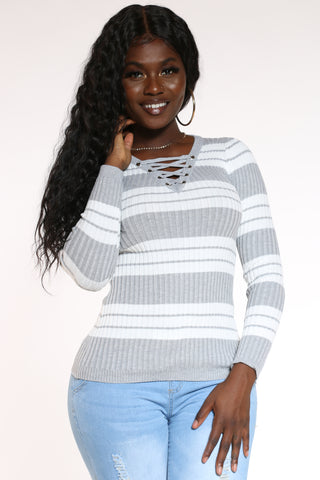 Women's Striped Lace Up Sweater - Heather Grey-VIM.COM