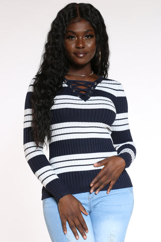 Women's Striped Lace Up Sweater - Navy-VIM.COM