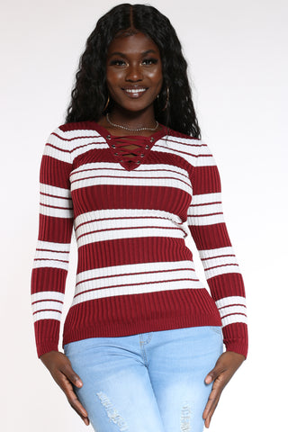 Women's Striped Lace Up Sweater - Burgundy-VIM.COM