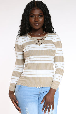 Women's Striped Lace Up Sweater - Khaki-VIM.COM