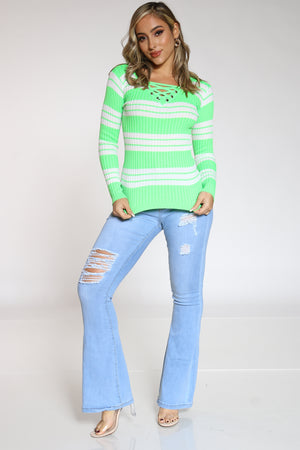 Women's Striped Lace Up Sweater - Green