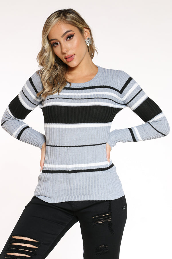 Women's Striped Crew Sweater - Heather Grey Black-VIM.COM