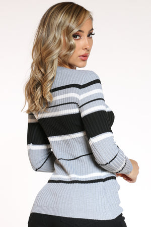 Women's Striped Crew Sweater - Heather Grey Black