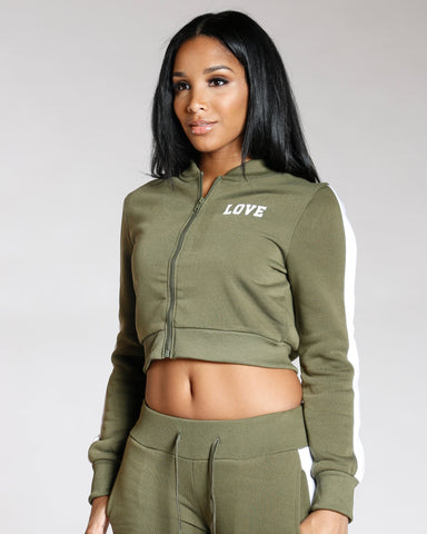 VIM VIXEN Full Zip Love Fleece Top - Olive - ShopVimVixen.com