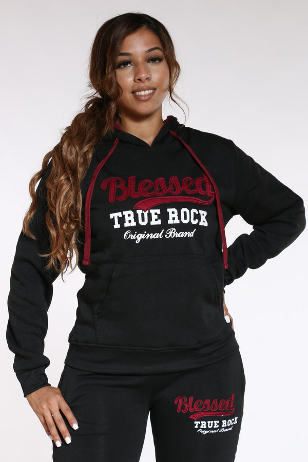Women's Blessed True Rock Hoodie - Black-VIM.COM