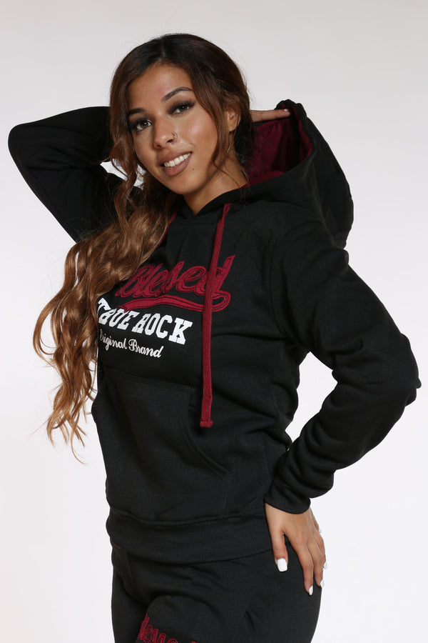 Women's Blessed Never Stressed True Rock Hoodie - Black