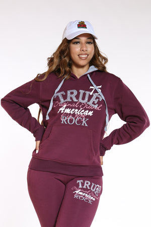 Women's True Rock Pulover Hoodie - Burgundy-VIM.COM