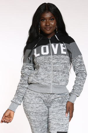 Women's Love Sherpa Lined Hoodie - Light Grey-VIM.COM