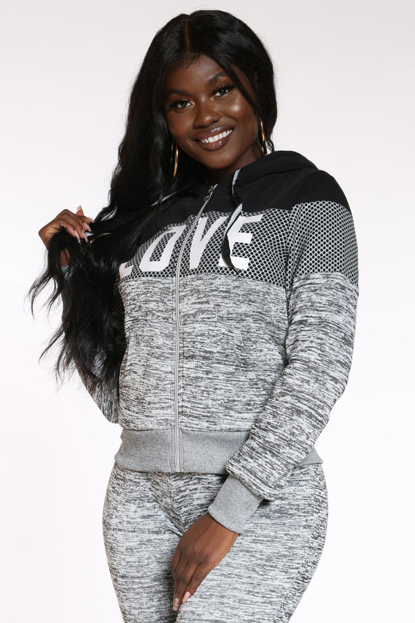 Women's Love Made Me Do It Sherpa Lined Hoodie - Light Grey
