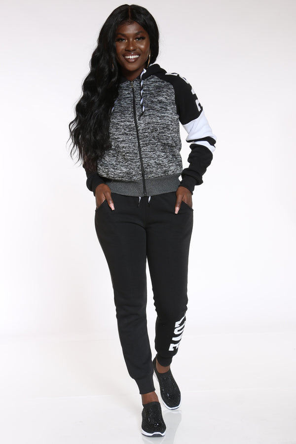 Women's Forever In Love With Myself Marled Sherpa Hoodie - Charcoal