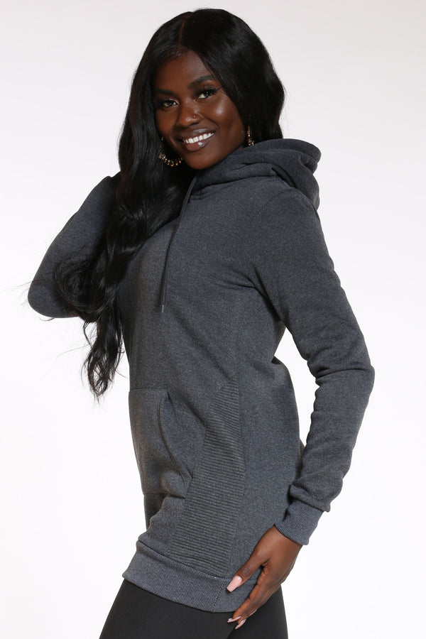Women's Go The Extra Mile Side Moto Hoodie Dress - Charcoal