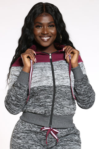 Women's Marled Color Block Hoodie - Burgundy Grey-VIM.COM