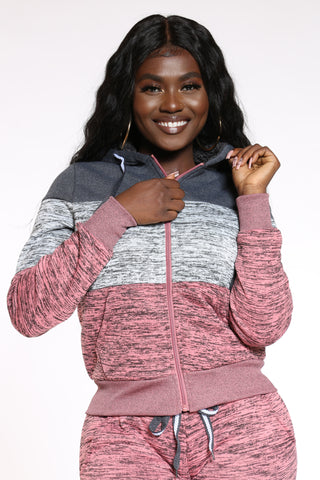 Women's Marled Color Block Hoodie - Pink-VIM.COM