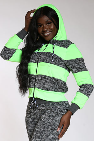 Got What You Want Marled Color Block Hoodie - Neon Green