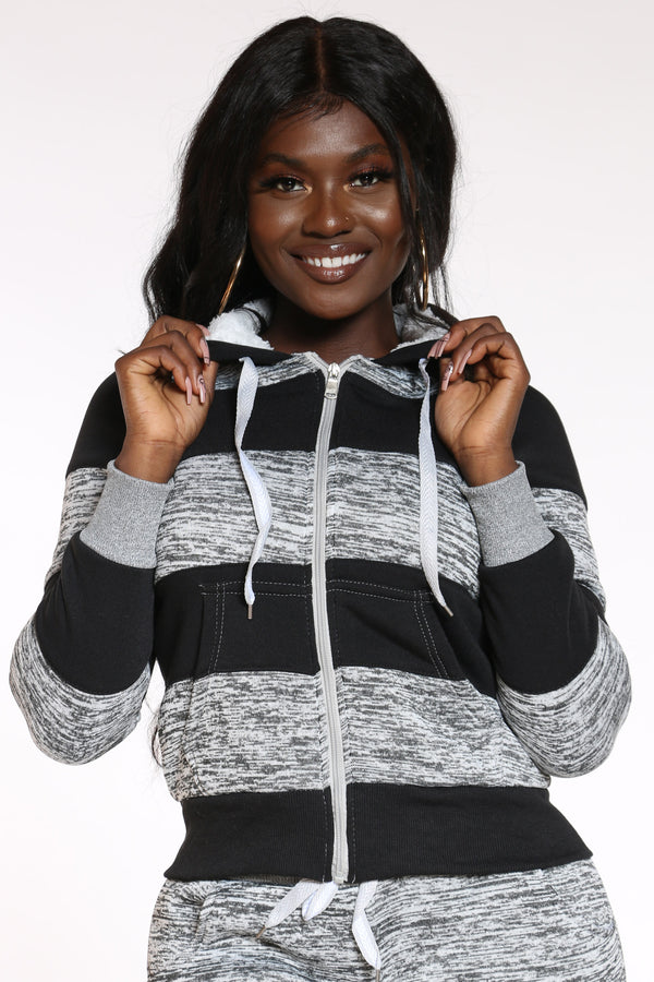 Women's Marled Color Block Hoodie - Black-VIM.COM