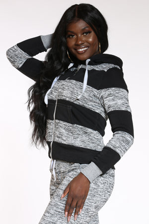 Got What You Want Marled Color Block Hoodie - Black