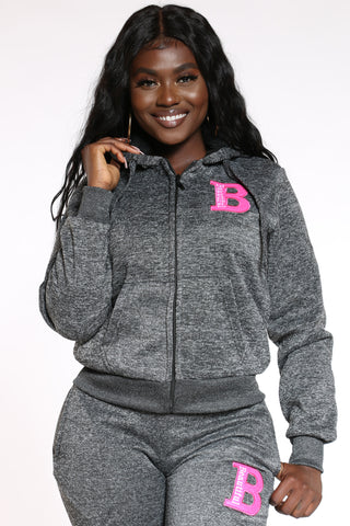Women's Marled B Patch Hoodie - Black-VIM.COM