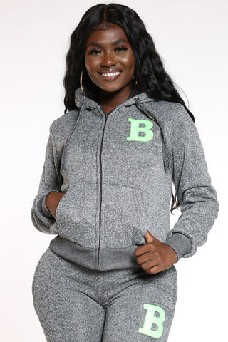 Women's Marled B Patch Hoodie - Charcoal Grey-VIM.COM