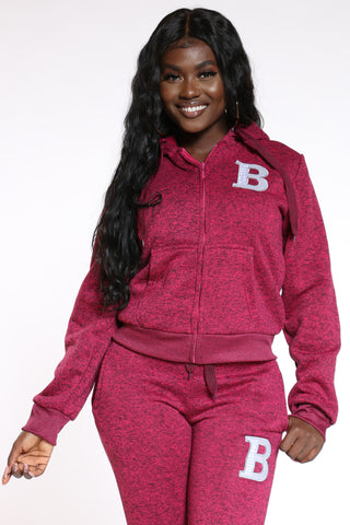 Women's Marled B Patch Hoodie - Burgundy-VIM.COM