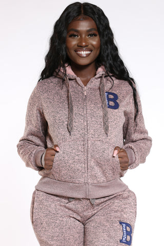 Women's Marled B Patch Hoodie - Dusty Rose-VIM.COM