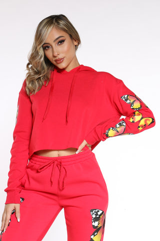 Women's Buttereflies Mid Crop Hoodie - Red-VIM.COM