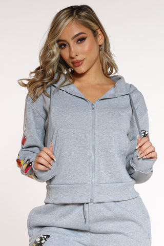 Women's Butterflies Fleece Zip Hoodie - Heather Grey-VIM.COM