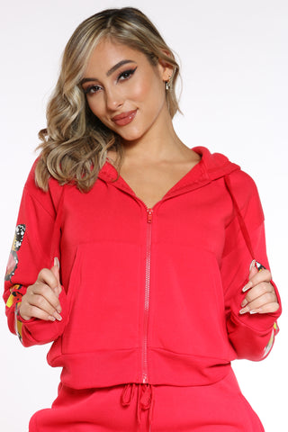 Women's Butterflies Fleece Zip Hoodie - Red-VIM.COM