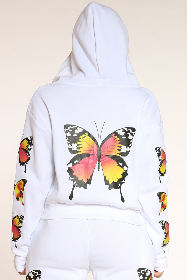 Women's Butterflies Fleece Zip Hoodie - White