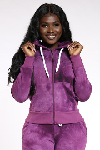 Women's Tie Dye Full Zip Hoodie - Purple-VIM.COM
