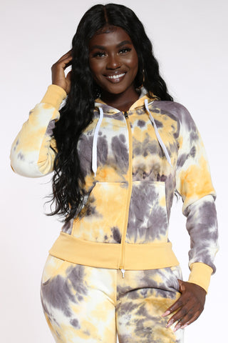 Women's Tie Dye Full Zip Hoodie - Yellow-VIM.COM