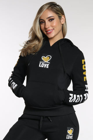 Women's Love Sleeve Trim Hoodie - Black-VIM.COM